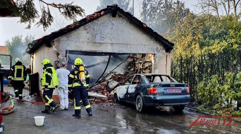 Garagenvollbrand Bild der Einsatzstelle
